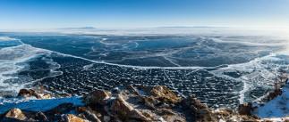 природа, реки, озера, озеро, россия, байкал, лед, берег, горизонт