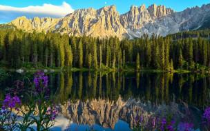 lake carezza, italy, природа, реки, озера, lake, carezza