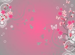 векторная графика, цветы , flowers, круги, цветы, бабочки