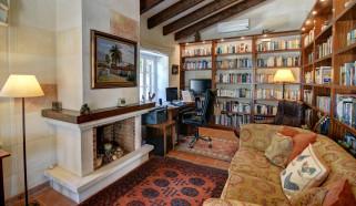 интерьер, кабинет,  библиотека,  офис, камин, книжные, полки, письменный, стол, диван