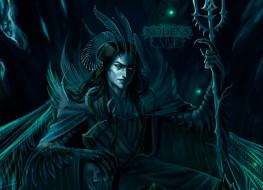 фэнтези, демоны, демон, рога, трон, посох