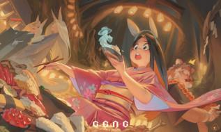 аниме, животные,  существа, девушки, ушки, еда, ноги, дух