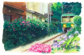 рисованное, города, город, дома, железная, дорога, кусты, трамвай, цветы