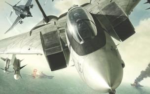 видео игры, ace combat x,  skies of deception, самолеты, корабли, море, небо, бомбы