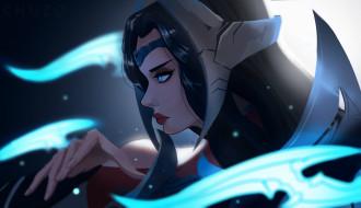 видео игры, league of legends, лицо, оружие, irelia