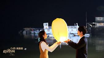 парень, девушка, фонарик, озеро