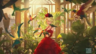 рисованное, люди, девушка, птицы, сад