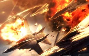 видео игры, ace combat 5,  the unsung war, самолеты, огонь, война