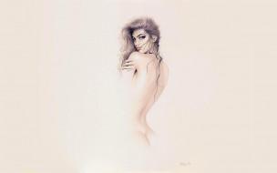 michael mobius, рисованное, люди, девушка, ню