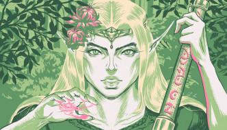 фэнтези, эльфы, девушка, лицо, уши, посох, магия, лес