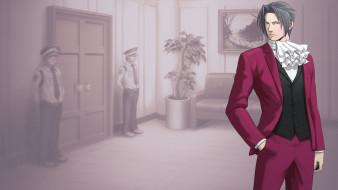 видео игры, ace attorney,  investigations - miles edgeworth, персонаж, двери, полиция, диван, коридор