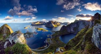 города, лофотенские острова , норвегия, горы, фьорд, дома