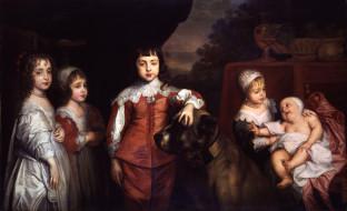 five children of king charles i, рисованное, antoine van dyck, дети, собака
