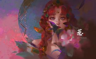 фэнтези, девушки, девушка, лицо, бабочки, цветы
