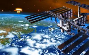 космос, арт, станция, земля, планета, взрыв