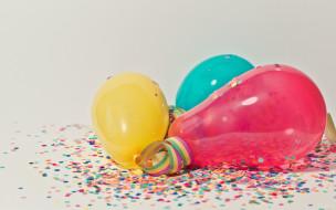 праздничные, шары, шарики, конфетти