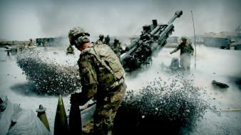 техника, военная техника, солдаты, снаряды, пушка, выстрел