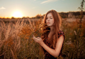 девушки, - рыжеволосые и разноцветные, женщины, рыжие, растения, на, природе, маникюр, закат, дмитрий, бутвиловский, цветочное, платье