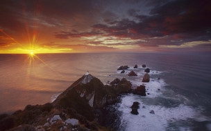 природа, побережье, небо, облака, закат, камни, море