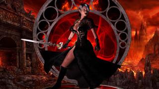 3д графика, фантазия , fantasy, девушка, фон, платье, меч