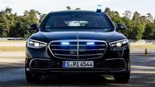 автомобили, mercedes-benz, mercedes, benz, s680, guard, 4matic, 2021, мерседес, вид, спереди, мигалка