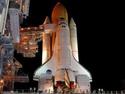 discovery, at, night, космос, космодромы, стартовые, площадки