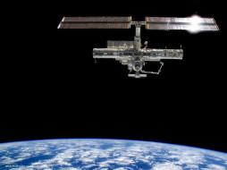 the, iss, in, orbit, around, earth, космос, космические, корабли, станции