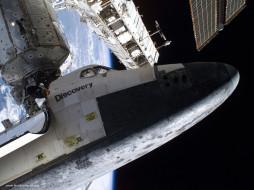 the, space, shuttle, discovery, docked, to, destiny, laboratory, of, international, station, космос, космические, корабли, станции