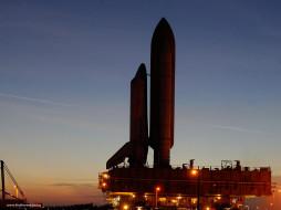 space, shuttle, discovery, at, twilight, космос, космодромы, стартовые, площадки