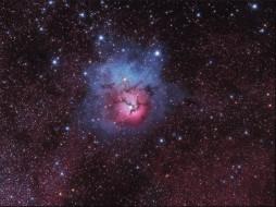 трехраздельная, туманность, космос, галактики, туманности