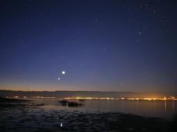 юпитер, венера, на, рассвете, космос