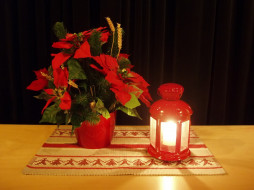christmas, flower, праздничные, новогодние, свечи