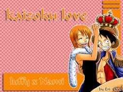 Kaizoku Love by ResidentEri обои для рабочего стола 1024x768 kaizoku, love, by, residenteri, аниме, one, piece, nami, monkey, d, luffy