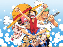 Team обои для рабочего стола 1024x768 team, аниме, one, piece, nami, monkey, d, luffy, sanji, roronoa, zoro, usopp, chopper