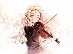 аниме, quartett, oyari ashito, музыка, скрипка, девушка