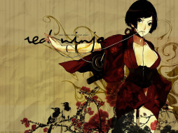 аниме, red, ninja