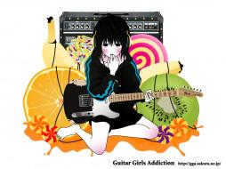 обои для рабочего стола 1600x1200 аниме, guitar, girls, addiction