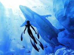 blue, submarine, аниме