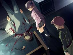обои для рабочего стола 1600x1200 аниме, weapon, blood, technology