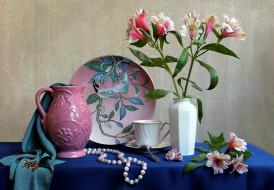 обои для рабочего стола 2048x1423 цветы, альстромерия, блюдо, ракушка, ожерелье, ваза