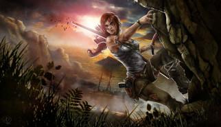 видео, игры, tomb, raider, 2013, lara, croft, арт, море, скалы, закат