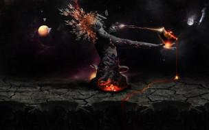 фэнтези, существа, огонь, планета