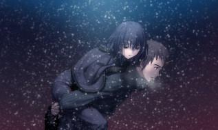 аниме, mahou, tsukai, no, yoru, девушка, парень, снег