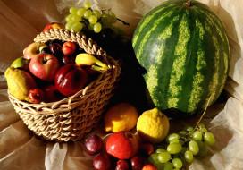 обои для рабочего стола 2000x1400 еда, фрукты, ягоды, арбуз, виноград, лимон, яблоки, сливы