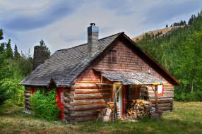 обои для рабочего стола 2000x1331 разное, сооружения, постройки, лес, горы, домик