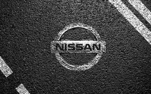 бренды, авто, мото, nissan, лого, разметка, асфальт
