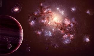 обои для рабочего стола 2667x1600 космос, арт, астероиды, galaxy, universe, планета, спутник, газовый, гигант