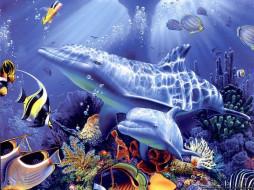 морские, глубины, рисованные, животные, рыба, дельфин