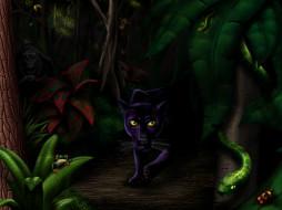 джунгли, рисованные, животные, пантеры