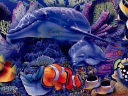 дельфины, рисованные, животные, дельфин, рыба